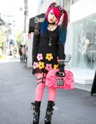 Pink-Blue Twintails, Lace Dress, Fishnets & Murderdolls Necklace in Harajuku