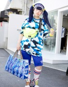 Blue Twintails w/ Joyrich Cloud Top, Adidas Sneakers & X-Girl in Harajuku