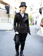 h.Naoto Staffer's Dark Harajuku Style w/ Top Hat, Black Jacket & Boots