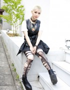 Tokyo Bopper's Minami in Leather Dress, Torn Tights & Platform Booties
