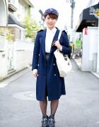LA Cap w/ Navy Coat, Leather Skirt & Bejeweled Booties in Harajuku