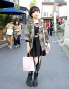 American Apparel Dress, Vivienne Westwood Beret & Murua Boots in Harajuku