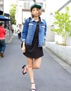 H&M Little Black Dress, Denim Jacket & Sandals on the Street in Harajuku