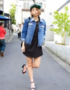 H&M Little Black Dress, Denim Jacket & Sandals on the Street in Harajuku
