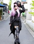 Striking Harajuku Gothic Style w/ Pink Hair, Eye Patch, Corset & Garters