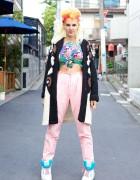 Performance Artist Gaff E in Harajuku w/ Pink & Orange Hair