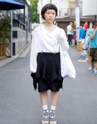 Suspender Skirt w/ Tricot Comme des Garcons & Geometric Necklace