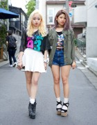 Mesh Top & Spike Boots vs Crop Top & High Waist Shorts in Harajuku