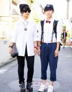 Harajuku K-Pop Fans w/ Bow Tie, Zipper Clutch & Suspenders