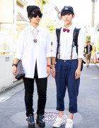 Harajuku K-Pop Fans w/ Bow Tie, Zipper Clutch & Suspenders