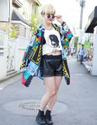 Colorful Jacket, Faux Leather Shorts & Spike Chain Necklace in Harajuku