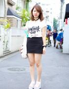 "Harajuku Girl in ""New York City"" Tee w/ Platform Sandals, Bow & Miniskirt"