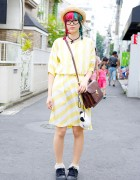 Pink-Blue Twin Braids w/ Round Glasses & Straw Hat in Harajuku