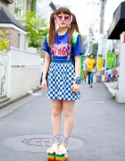 Clear Backpack, Twintails, Rainbow Platforms & Toy Car Bracelet in Harajuku