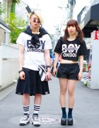 Boy London Matching Tops w/ Bone Necklace & Tokyo Bopper in Harajuku
