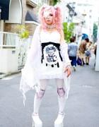 Rumanjyu in Harajuku w/ Eye Patch, Devil Horns, Pink Hair & h.NAOTO