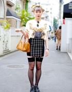 Lilac Hair & Chanel Headscarf w/ Public Eyes & Bonjour Girl in Harajuku