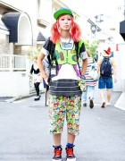 Pink Twin Tails, Cartoon Pants & Candy Stripper x Amoyamo Sneakers in Harajuku