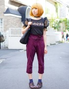 Rolick Striped Pants, Ashinaga-Ojisan Brogues & Dolly Girl in Harajuku