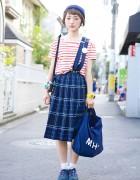 Cute Short Hairstyle, Muji Stripes, Plaid & Retro Nike in Harajuku