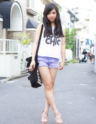 Holy Chic Tank, Lavender Cut-offs & Floral Sandals in Harajuku