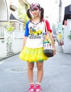 Decora Style in Harajuku w/ Neon Tutu, Hair Clips & Panda Mask