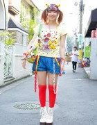 Kanjani8 Fan w/ Decora Hair Clips, Rubber Duckies & Lace-up Boots in Harajuku