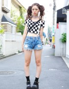 Cute Twin Tails w/ Crop Top, Suspenders & Denim Cutoff Shorts