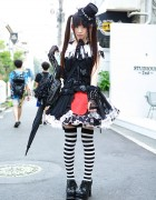 Hangry&Angry Gothic Dress, Top Hat, Striped Socks & Skulls in Harajuku