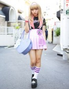 Kawaii Harajuku Style w/ Pink Hair, Pleated Skirt, Lace Suspenders & Katie