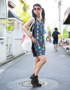 Radwimps Fan in Twin Tails w/ H&M Dress, Ankle Boots & Nadia Bag