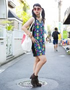 Radwimps Fan in Twin Tails w/ H&M Dress, Ankle Boots & Nadia Bag