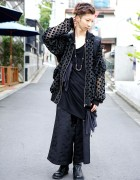 Monomania Harajuku Staffer w/ All Black Fashion & Mohawk Skull Ring
