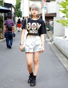 Boy London Crop Top,  MYOB Earrings & Choco Moo x Joyrich Tote Bag