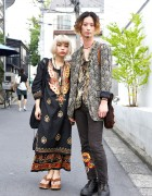 Harajuku Duo in Ethnic Prints & Tunics w/ Qosmos Accessories & Elephant Bag