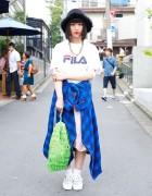 Plaid Shirt Tied Around Waist, Fringe Bag & Bubbles Harajuku Hat