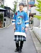 Oversized NFL Jersey, Plaid & Spike Necklace in Harajuku