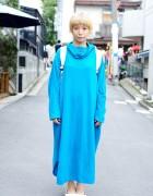 Short Blonde Hairstyle w/ Oversized Blue Dress, Muji Backpack & Ballet Flats in Harajuku