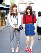 Harajuku Girls in Suspenders, Denim Skirt & Sweatshirt w/ Sango & American Apparel
