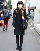 Two-tone Hair, All-Black Fashion & Belly Button Platforms in Harajuku
