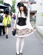 Cute Bunny Skirt, Handmade Corset, Cat Tights & Cat Bag in Harajuku