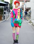 Circus Harajuku Staffer w/ Rainbow Hair, Oversized Sweater & Colorful Socks