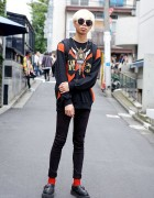 Graphic Sweatshirt, Skinny Jeans & George Cox Creepers in Harajuku