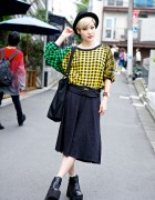 Japanese Fashion Blogger in Checkered Top, Midi Skirt & Pin Nap Ankle Boots