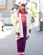 Pink Hair, Kinji Oversized Cardigan, Panama Boy & Cute Rings in Harajuku