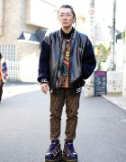 Versace Bomber Jacket, Fendi Pants & Nike Platform Sneakers in Harajuku