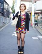 ANAP Floral Mini, Studded Bag & Gold Toe Boots in Harajuku