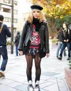 Listen Flavor Style w/ Biker Jacket, Skulls & Heart Tights in Harajuku