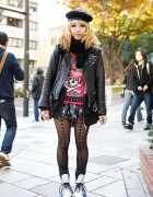 Listen Flavor Style w/ Biker Jacket, Skulls & Heart Tights in Harajuku