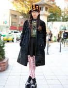 Rolick Harajuku Staffer in Jeffrey Campbell Studded Platforms, Striped Hat & Camouflage